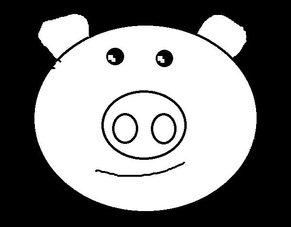 Dibujo de Cara de cerdito para Colorear