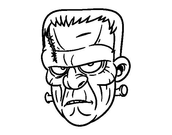 Dibujo de Cara de Frankenstein para Colorear - Dibujos.net