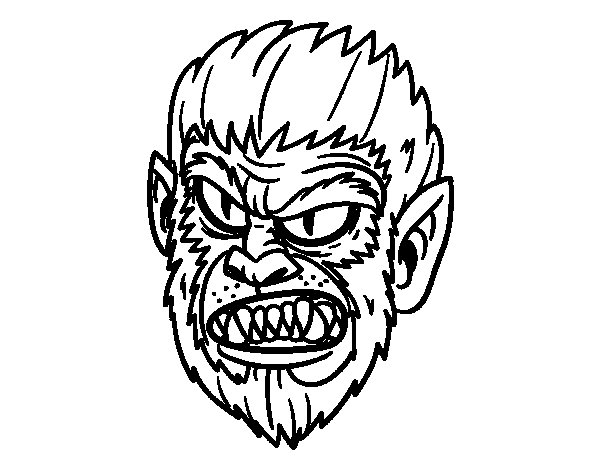 Dibujo de Cara de Hombre lobo para Colorear