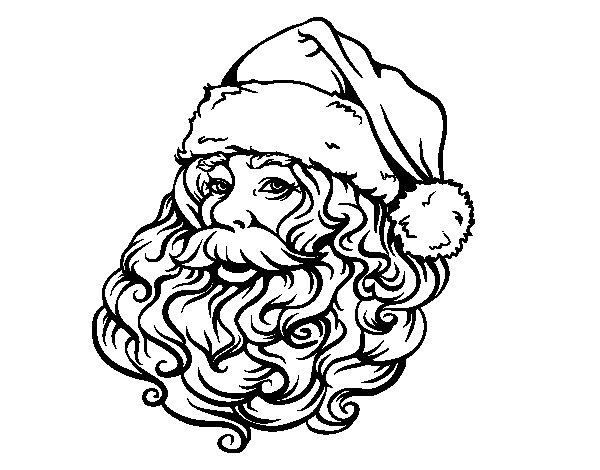 Dibujo de Cara de Santa Claus para Navidad para Colorear
