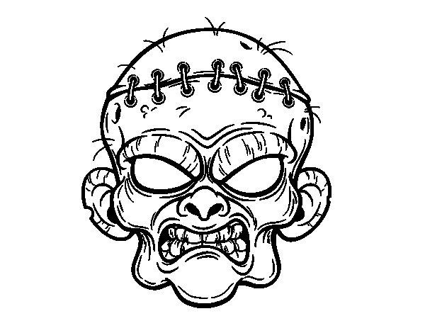 Dibujos De Zombies Para Imprimir Y Colorear: Dibujo De Cara De Zombie Para Colorear