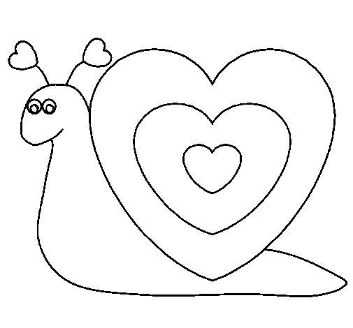 Dibujo de Caracol corazón para Colorear