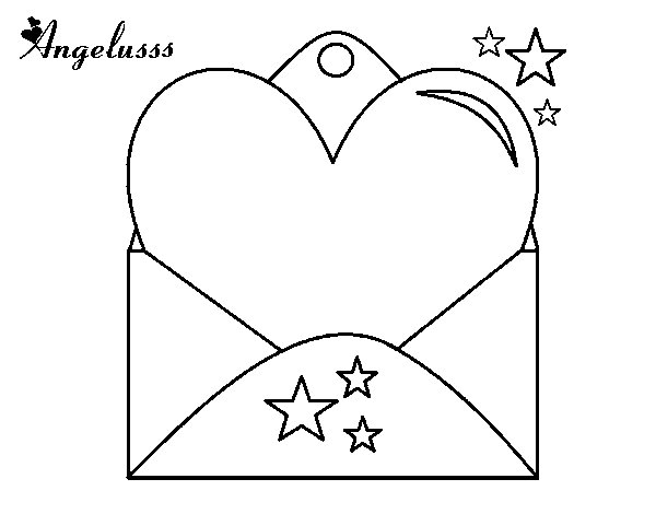 Dibujo de Carta con corazón para Colorear