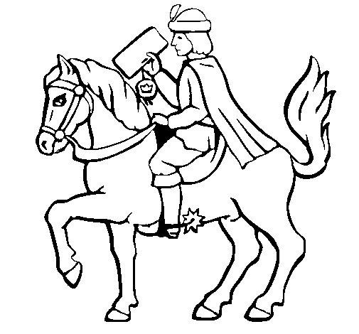 Dibujo de Cartero navideo en caballo para Colorear  Dibujosnet