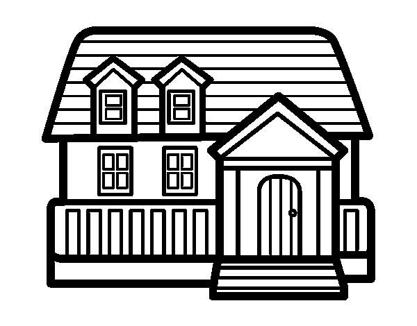 Dibujo de casa americana para colorear - Imagenes de casas para dibujar ...