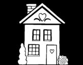 Dibujo de Casa con corazones