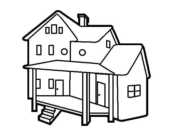 Dibujo de casa con porche para colorear for Como dibujar un plano de una casa