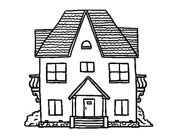 Dibujo de casa de campo con balcones para colorear for Colores actuales para pintar una casa