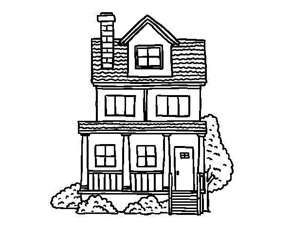 Dibujo de Casa de dos pisos con buhardilla para Colorear