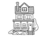 Dibujo de Casa de dos pisos con buhardilla