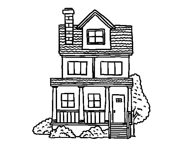 Dibujo de casa de dos pisos con buhardilla para colorear - Imagenes de casas para dibujar ...