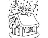Dibujo de Casa en la nieve para colorear
