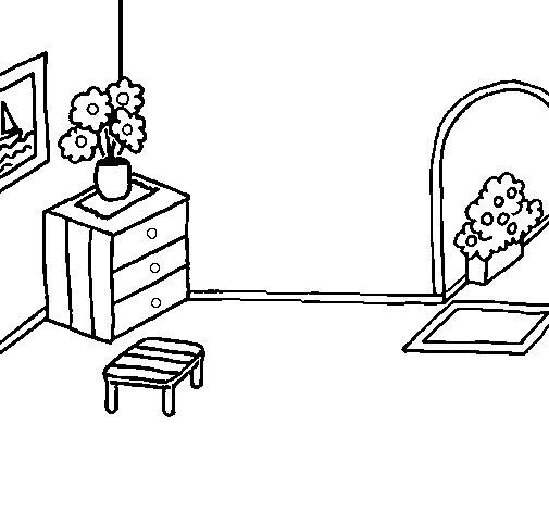 Dibujo de Casa por dentro para Colorear