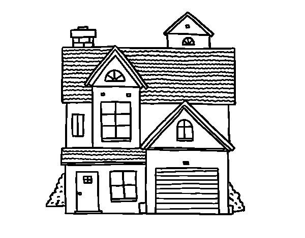 Dibujo de Casa unifamiliar americana para Colorear
