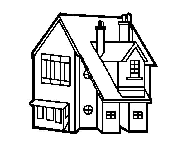 Dibujo de casa unifamiliar para colorear - Imagenes de casas para dibujar ...