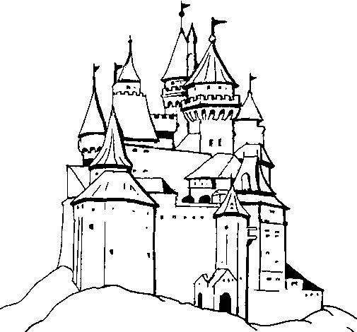Dibujo de Castillo medieval para Colorear