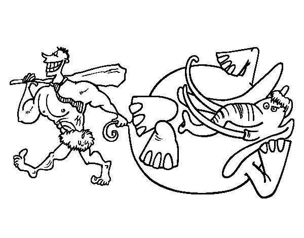 Dibujo de Caza de elefante para Colorear