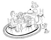 Dibujo de Cena familiar para colorear