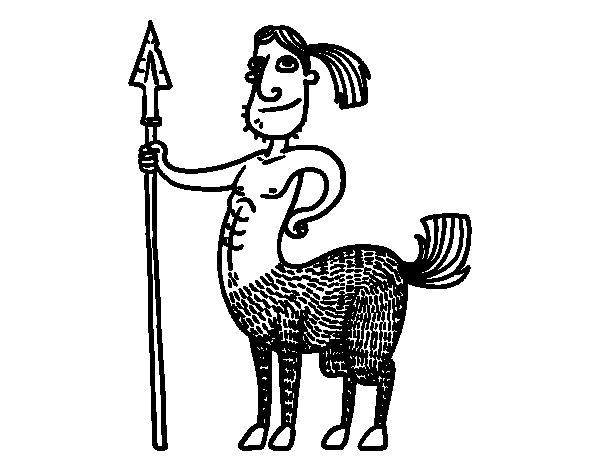 Dibujo de Centauro con lanza para Colorear