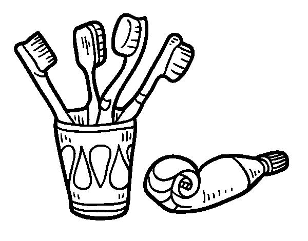 Dibujo de cepillos y pasta de dientes para colorear - Immagini dei denti da colorare ...