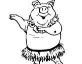 Dibujo de Cerdo hawaiano para colorear