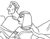 Dibujo de César y Cleopatra para colorear