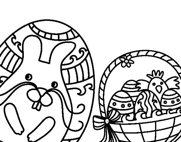 Dibujo de Cesta con huevos de pascua para Colorear