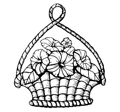 Dibujo de Cesta de flores para Colorear