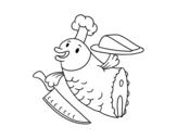 Dibujo de Chef Pescado para colorear