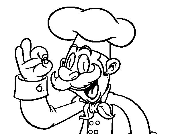 Dibujo de chef para colorear for Chef en frances