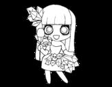Dibujo de Chica con diamantes bonitos para colorear