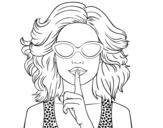 Dibujo de Chica con gafas de sol para colorear