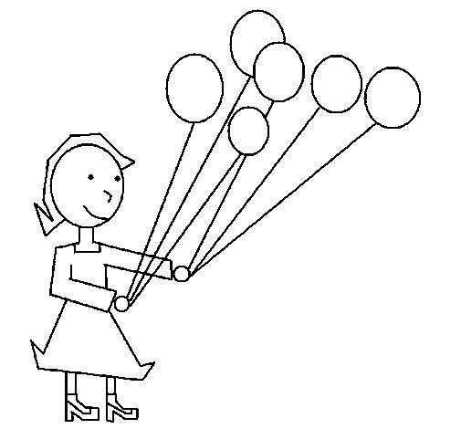 Dibujo de Chica con globos 1 para Colorear