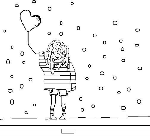Dibujo de Chica con globos para Colorear