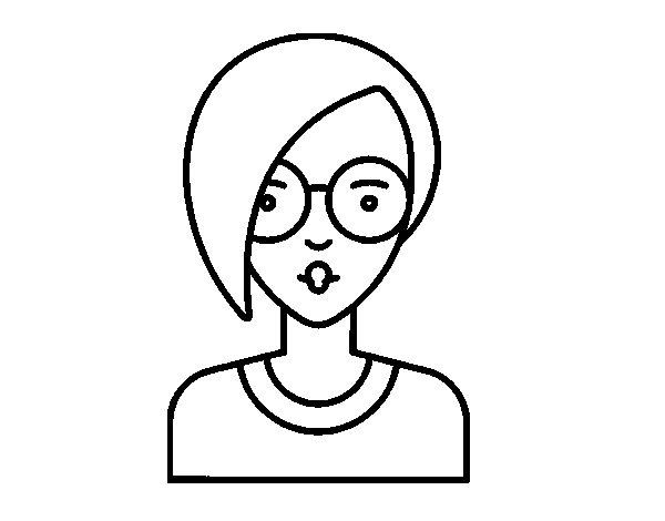 Dibujo de Chica con pelo corto para Colorear