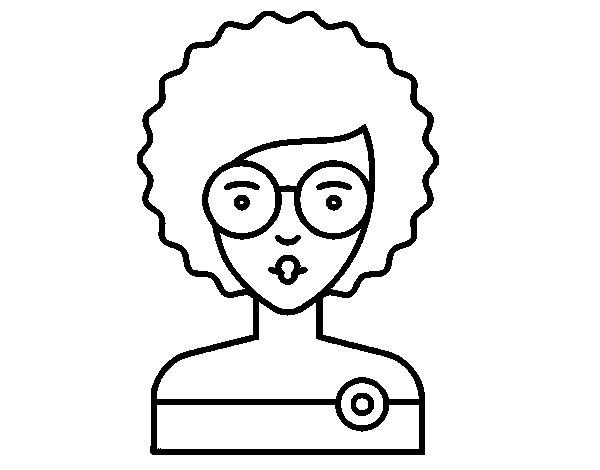 Dibujo de Chica con pelo rizado para Colorear