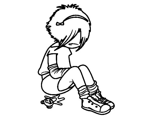 Dibujo de Chica EMO para Colorear