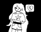 Dibujo de Chica enamorada para colorear