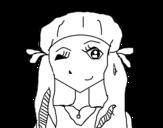 Dibujo de Chica guiñando para colorear