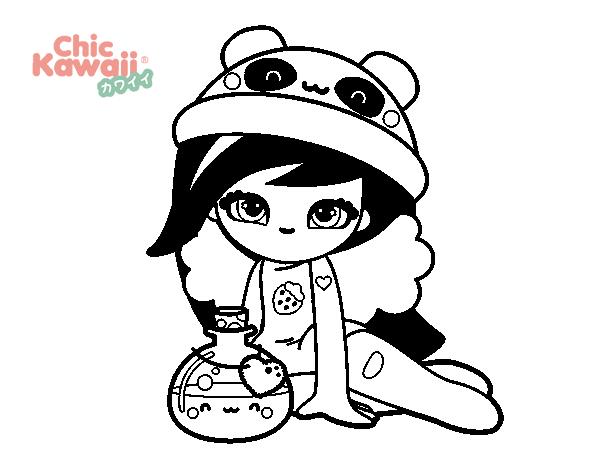 Dibujos Para Colorear Kawaii Disney: Dibujo De Chica Kawaii Para Colorear