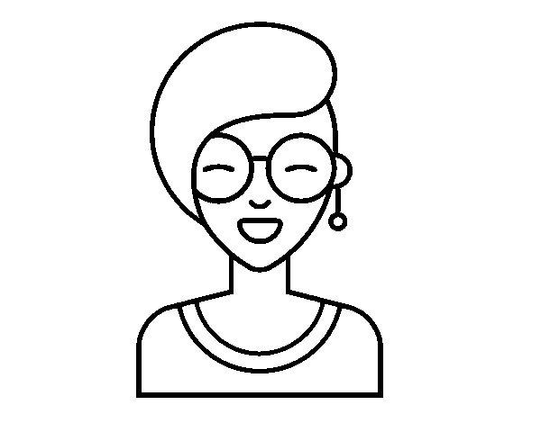 Dibujo de Chica moderna sonriendo para Colorear