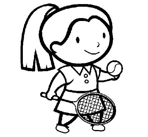 Dibujo de Chica tenista para Colorear