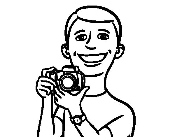 Dibujos Para Colorear De Chicos: Dibujo De Chico Con Cámara Para Colorear