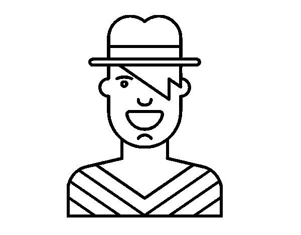 Dibujo de Chico con sombrero para Colorear