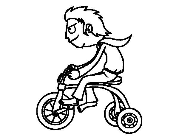 Dibujo de Chico en triciclo para Colorear