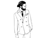 Dibujo de Chico moderno con traje para colorear