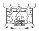Dibujo de Chimenea de Navidad