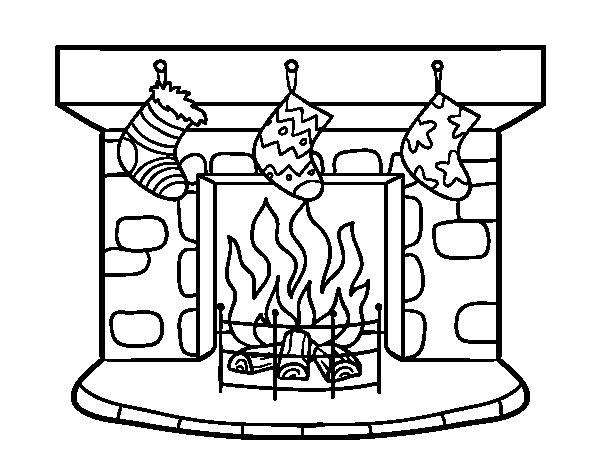 Dibujo de chimenea de navidad para colorear - Chimeneas decoradas para navidad ...