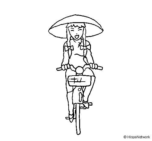 Dibujo de China en bicicleta para Colorear