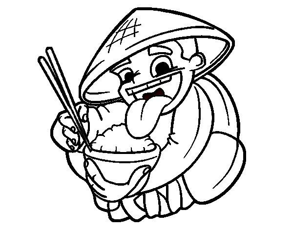 Dibujo de Chino comiendo arroz para Colorear